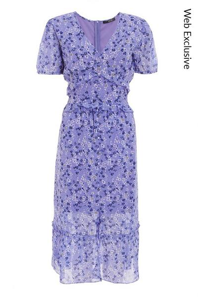 Lilac Chiffon Floral Midi Dress